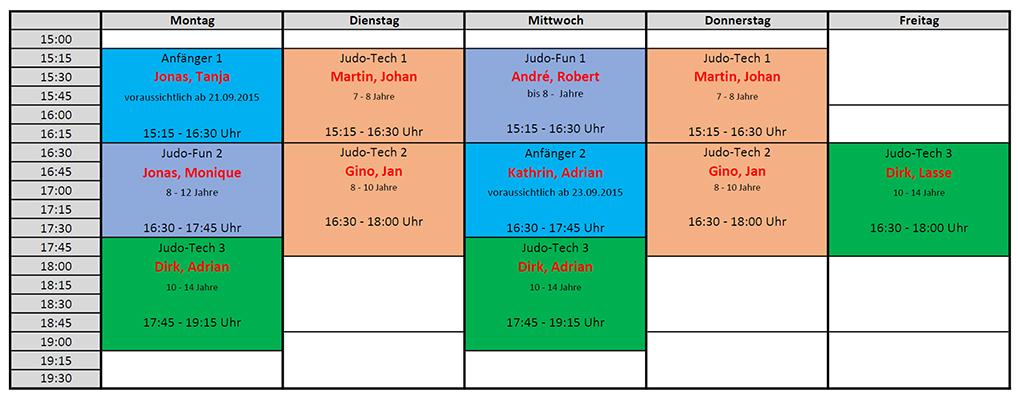 Trainingsplan Schuljahr 2015/16