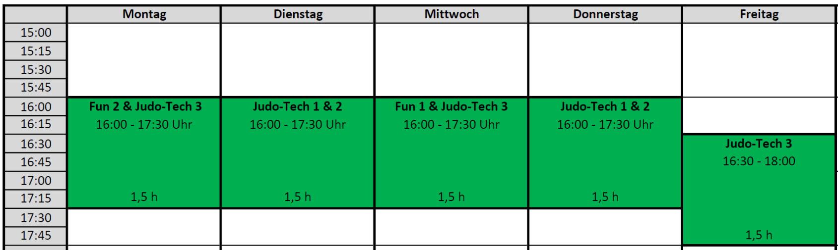 Achtung – Sondertrainingsplan – Update: bis 02.10.2016