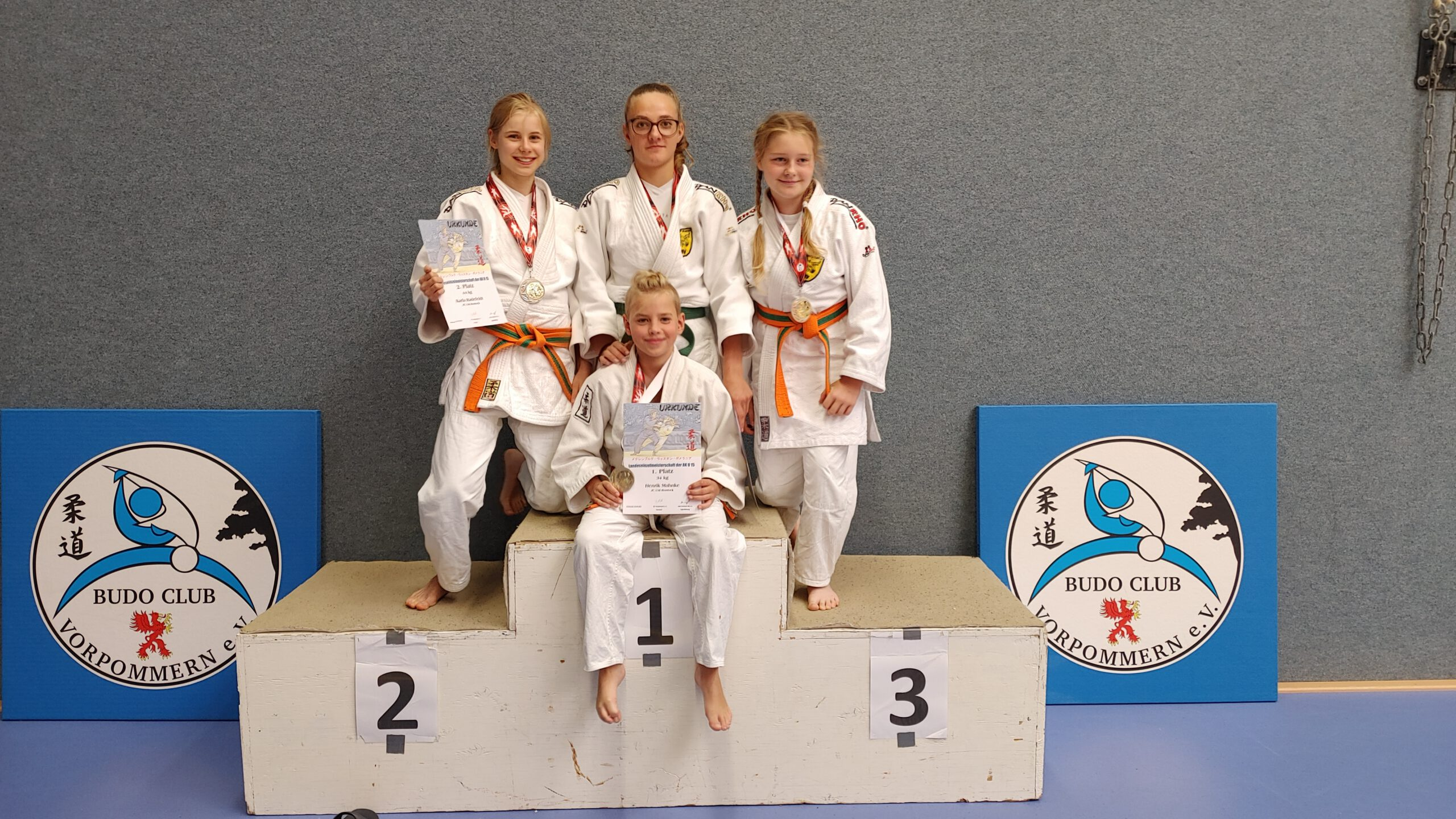 LEM U15 Greifswald 2021 Siegerehrung 5 Judogreifen - Judo Rostock